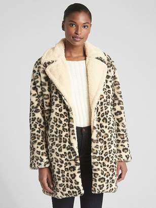 Gap Leopard Faux-Fur Coat