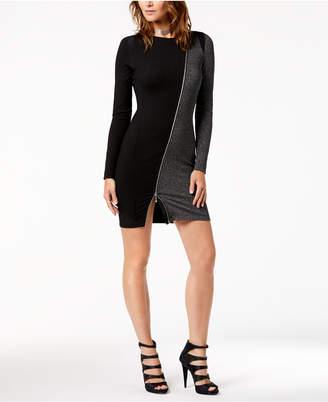 Just Cavalli Zip-Trim Mixed-Media Sheath Dress
