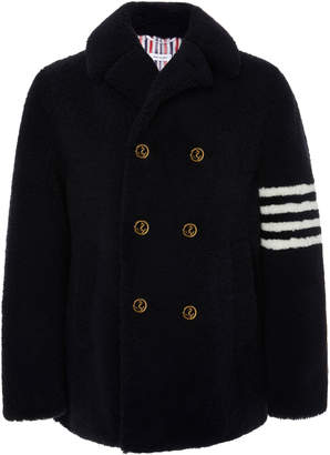 Thom Browne Double-Breasted Striped Shearling Peacoat