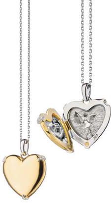 Monica Rich Kosann 18K Yellow Gold & Sterling Silver Heart Locket Necklace w/ Diamond Accents