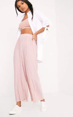PrettyLittleThing Loredana Blush Soft Pleated Sheer Cropped Trousers