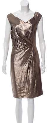 J. Mendel Metallic Sheath Dress Gold Metallic Sheath Dress