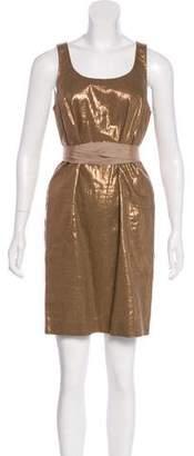 Rozae Nichols Linen-Blend Metallic Dress