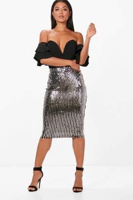 boohoo Sequin Stripe Midi Skirt