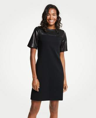 Ann Taylor Petite Faux Leather Yoke Ponte Shift Dress