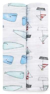 Aden Anais aden + anais Baby's Natchie Set of Two Whales& Boats Cotton Swaddles