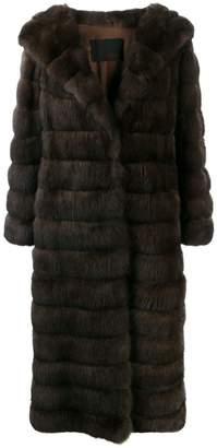 Liska long fur coat with wide lapels