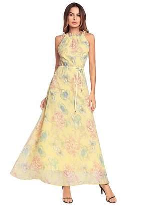 Ruiyige Women Casual Halter Neck Sleeveless Printed Slim Maxi Dresses Blue XL
