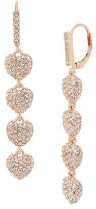 Betsey Johnson Pave Heart Linear Drop Earrings