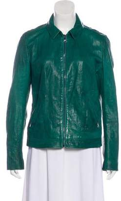 Dolce & Gabbana Leather Zip-Up Jacket
