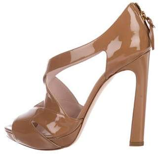 Miu Miu Patent Leather Peep-Toe Sandals
