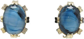 One Kings Lane Vintage Two-Tone Blue Glass Earrings