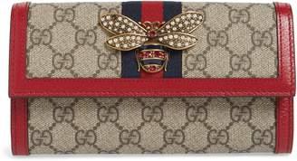 Gucci Queen Margaret GG Supreme Canvas Flap Wallet