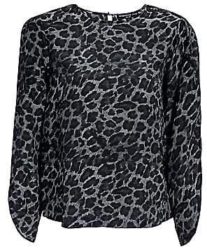 Generation Love Women's Idina Tulip-Sleeve Silk Leopard Top