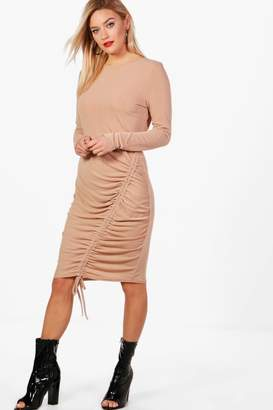 boohoo Long Sleeve Rouched Front Midi Dress