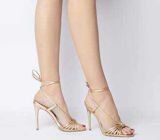 fcbebc67b Office Honourable Multi Strap Heeled Sandals Gold Leather