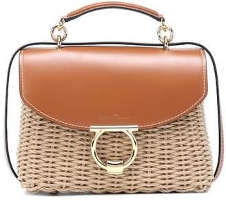Salvatore Ferragamo Margot leather-trimmed wicker shoulder bag