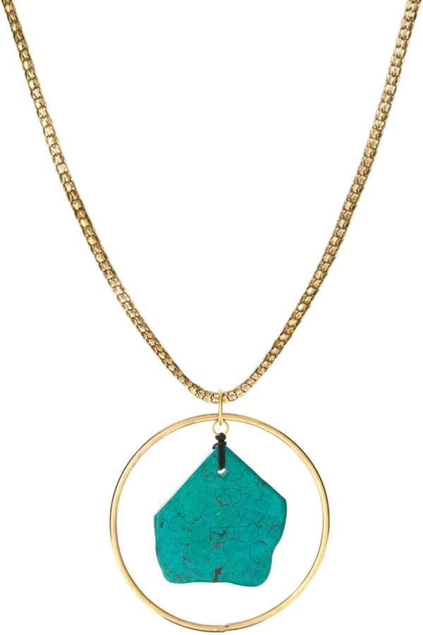ASOS Genuine Semi Precious Turquoise Nugget Long Pendant with Surrounding Hoop