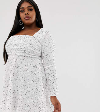 04018ceab134 PrettyLittleThing Plus Plus skater dress with square neck and ruched detail  in white polka dot