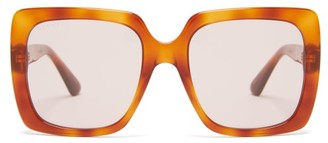 Gucci Crystal Logo Square Frame Acetate Sunglasses - Womens - Brown