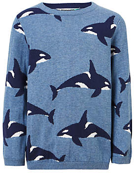 John Lewis Boys' Whale Cotton Knitted Jumper, Blue