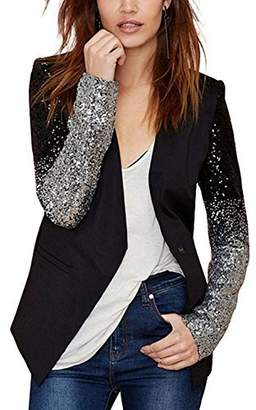 HAOYIHUI Womens Casual PU Patchwork Sequin Long Sleeve Button Blazer(XL,)
