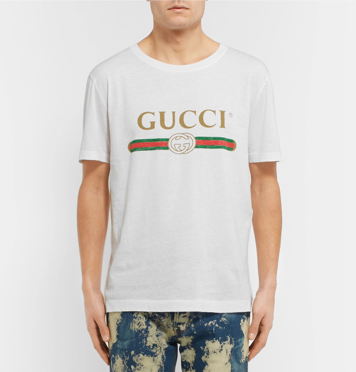 Gucci Slim-Fit Printed Cotton-Jersey T-Shirt 4