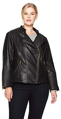 Calvin Klein Women's Plus Size Pu Jacket with Seaming