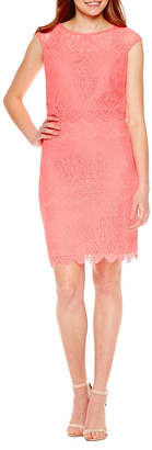 Sangria SIGNATURE BY Signature by Short Sleeve Lace Sheath Dress