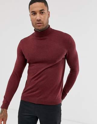 Asos Design DESIGN cotton roll neck sweater in burgundy