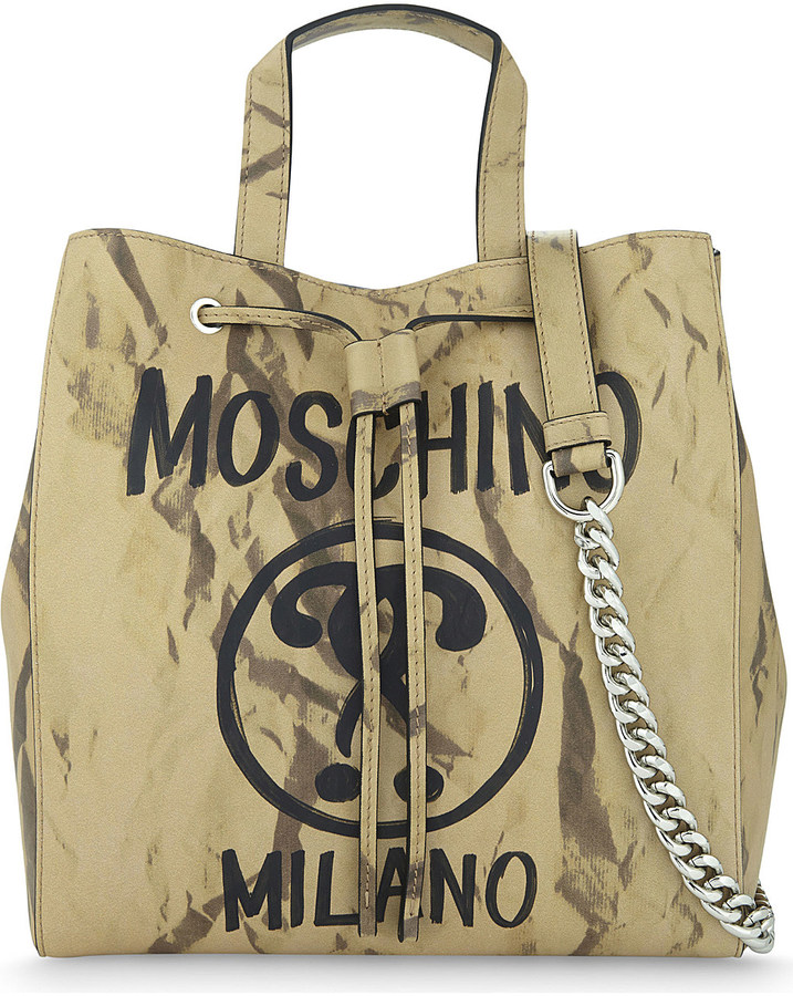 Moschino Moschino Logo-print leather tote
