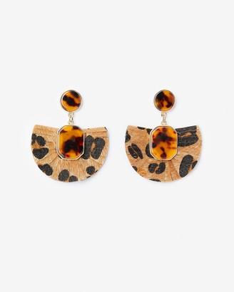 Express Leopard Print Fan Drop Earrings