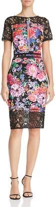 Tadashi Shoji Lace-Trimmed Floral-Print Sheath Dress
