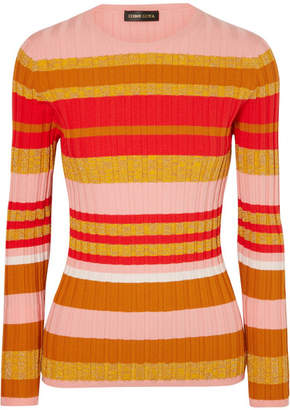 Stine Goya Leonor Metallic Striped Ribbed-knit Sweater - Pink