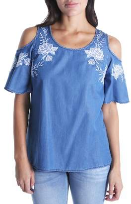 KUT from the Kloth Embroidered Cold Shoulder Top