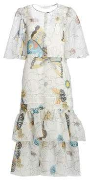See by Chloe Organza Cape-Effect Butterfly Print Dress