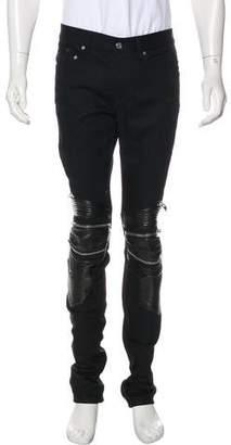 Saint Laurent D04 Leather-Trimmed Moto Jeans w/ Tags