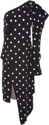 Monse One-Shoulder Polka-Dot Crepe Dress