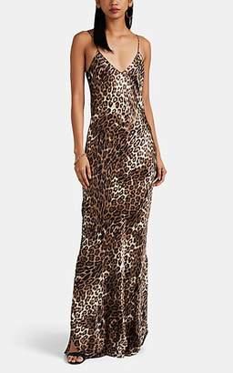 Nili Lotan Women's Leopard-Print Silk Satin Slip Gown - Brown