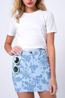 Motel Rocks Blue Rose Miniskirt