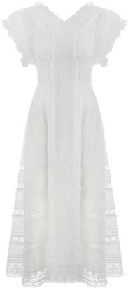 Zimmermann Iris Lace Trim Long Dress