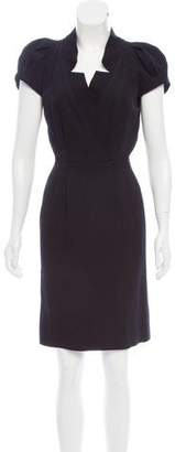 Oscar de la Renta Short Sleeve Knee-Length Dress