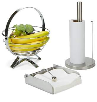 Mind Reader 3 Piece Stainless Steel Kitchen Table Decor Set with Collapsible Fruit Bowl, Napkin Holder, Paper Towel Holder, Silver