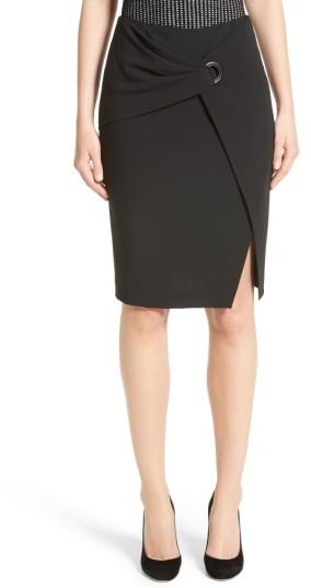 Women's Armani Collezioni Stretch Wool Faux Wrap Skirt