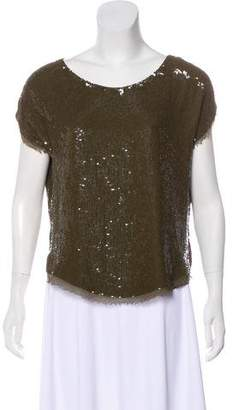 Haute Hippie Sequined Short Sleeve Silk Blouse