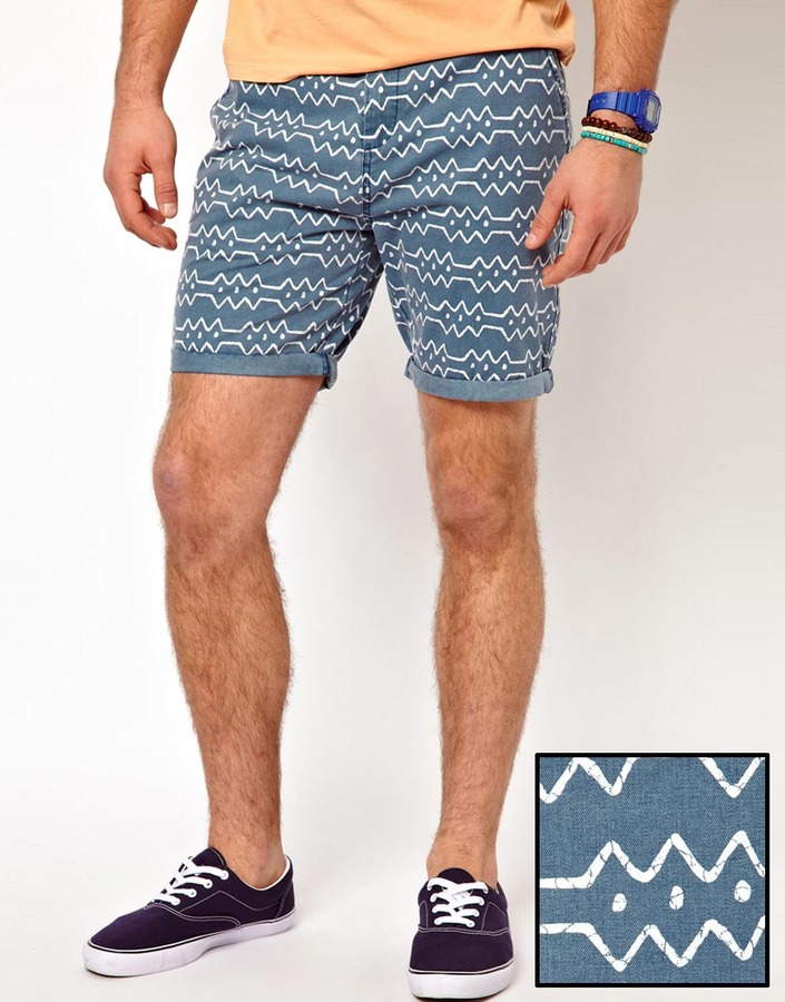 Asos Chino Shorts With Geo-Tribal Print