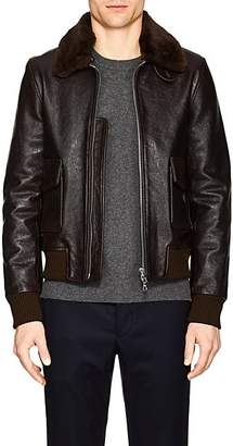 Officine Generale Men's Leather & Shearling Bomber Jacket - Brown