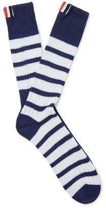 Thom Browne Striped Ribbed Cotton Socks - Men - Navy