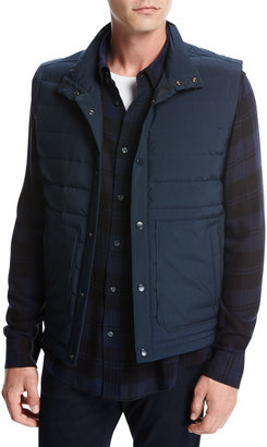 Quilted Tech Utility Vest, Navy