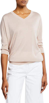 Neiman Marcus Cashmere-Blend V-Neck 3/4-Sleeve Slim-Fit Top